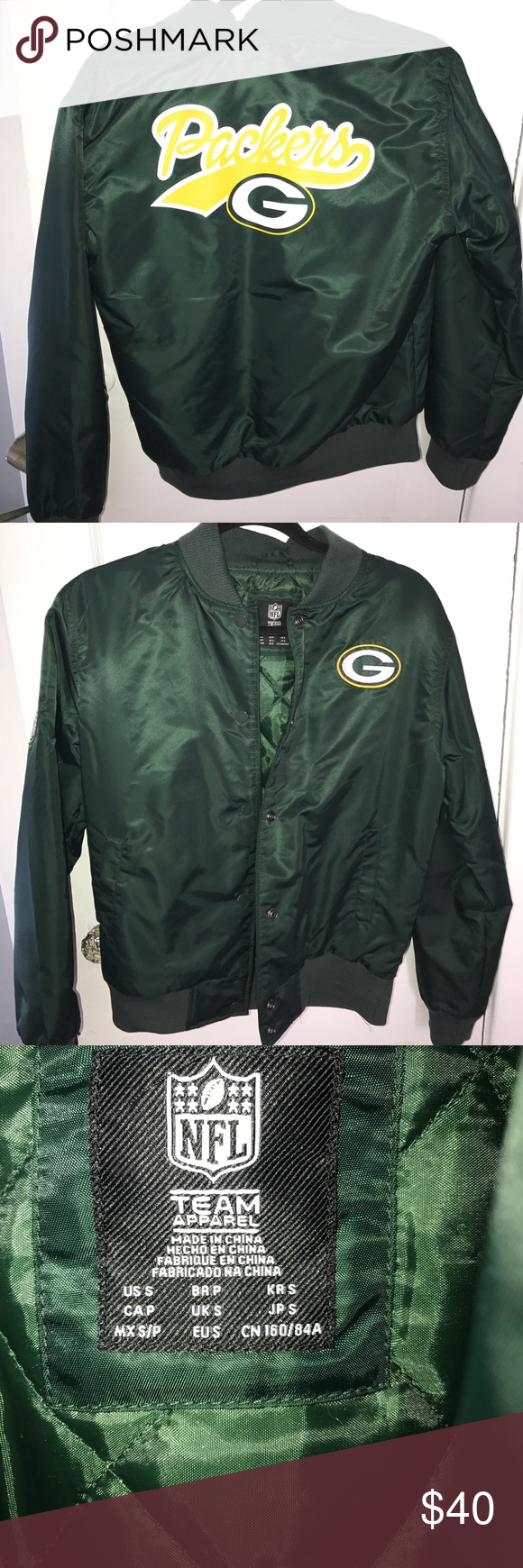 Green Bay packers bomber Green bomber worn once great condition Forever 21 Jackets & Coats
