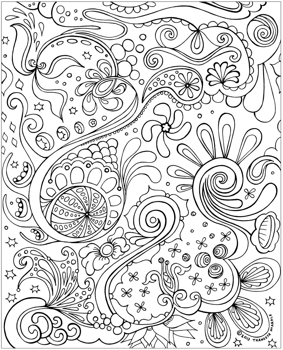 Free coloring pages for adults abstract - Free Adult Coloring Pages To Print And Color Featuring The Detailed Art Of Thaneeya Mcardle Published Coloring Book Artist These Printable Coloring Pages
