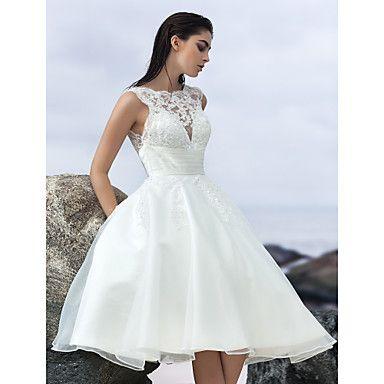 Hochzeitskleid+-+Elfenbein+Organza+-+A-Linie+-+Knielänge+-+Juwel-Ausschnitt+–+EUR+€+97.99
