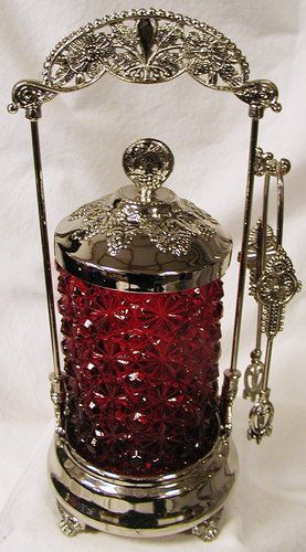 Old Fashion Style Pickle Castor w/Ruby Glass Daisy & Button Pattern Insert
