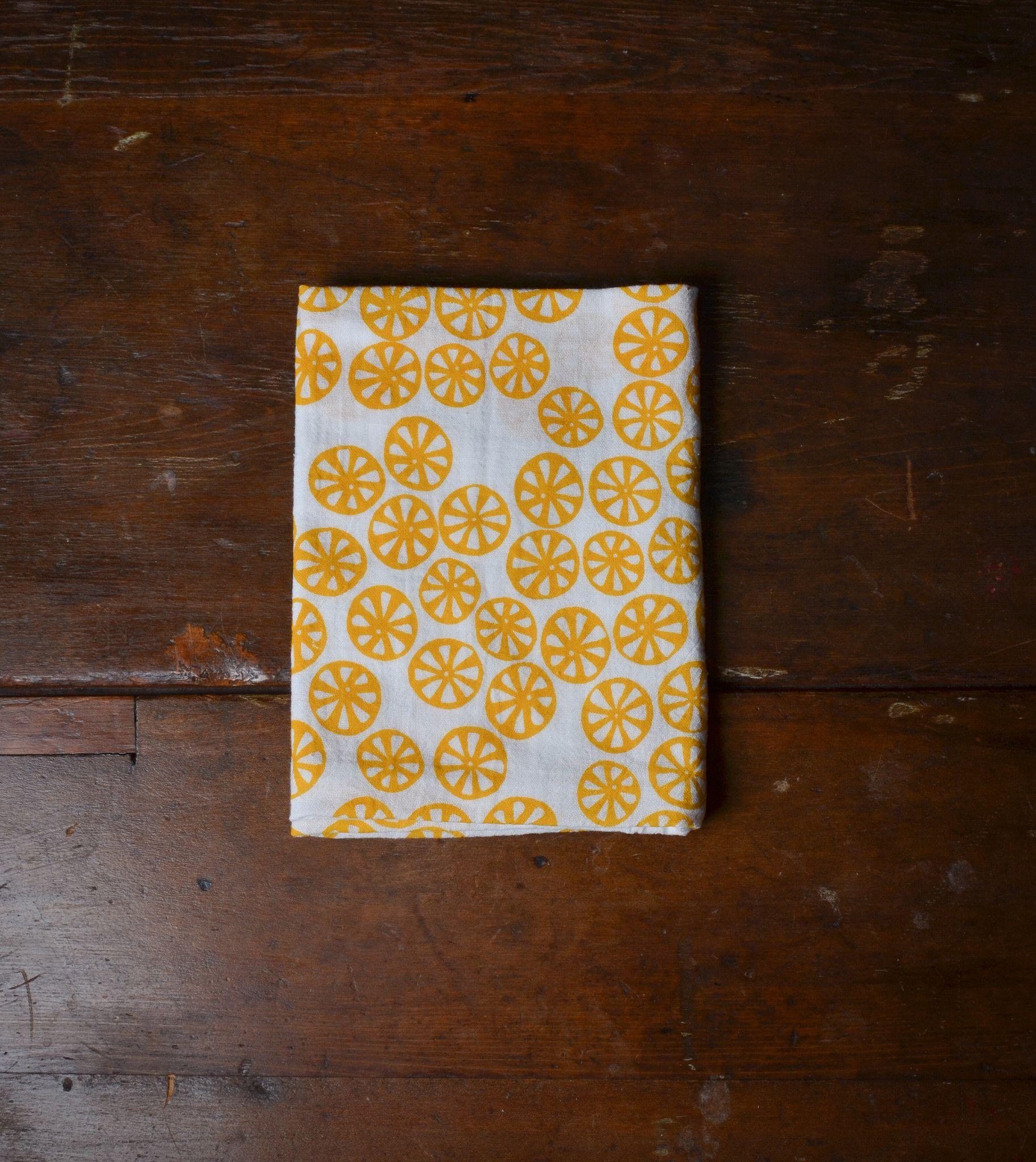 Hand Printed Flour Sack Dish Towel