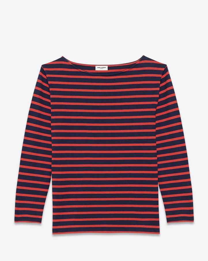 bf3c1a46ee05 Saint Laurent CLASSIC MARINIÈRE Long Sleeve Top IN Navy Blue And Red ...