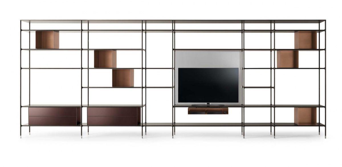design boekenkast in glas en aluminum op maat italiaans high-end ...