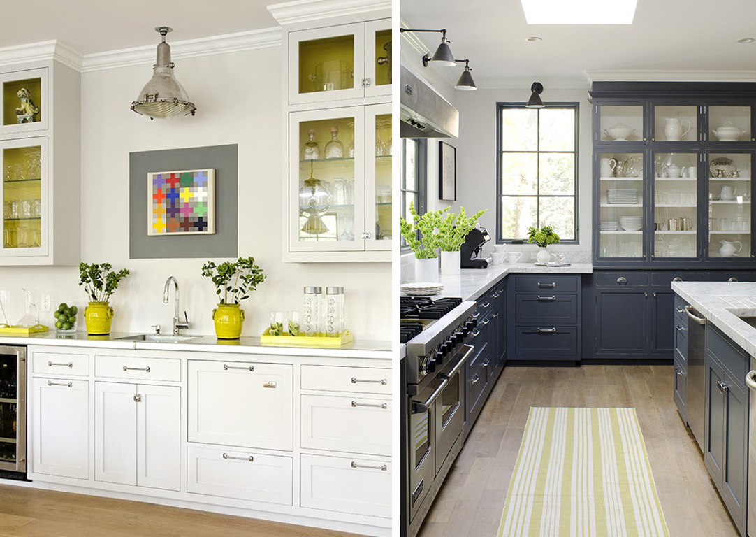 excellent white kitchen yellow accents | dark cabinets via stephmodo: Gorgeous Gray Kitchen with ...
