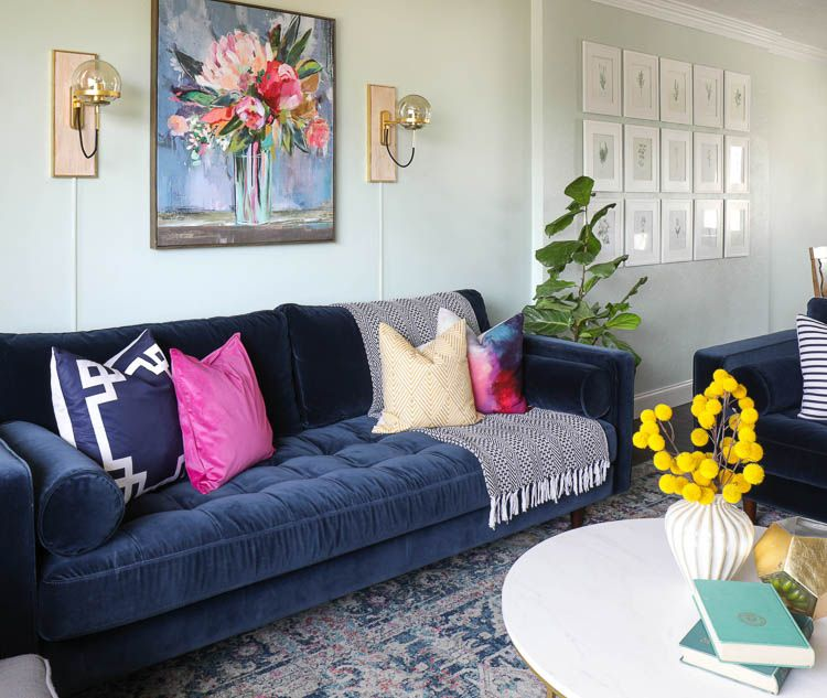 From Farmhouse To Modern Glam My Living Room Makeover With Article Sofa The Craft Patch Blue Couch Living Room Navy Sofa Living Room Glam Living Room