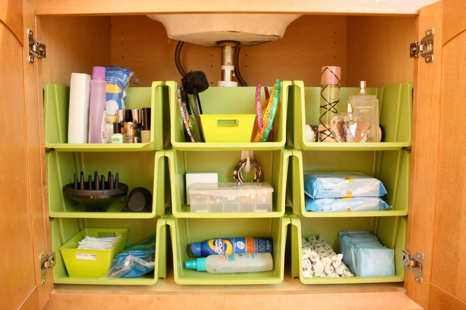 Bathroom Organization using stackables from the