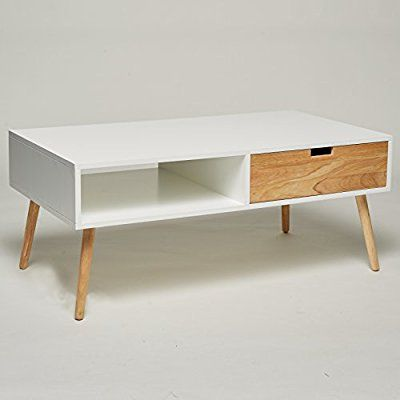 Couchtisch   Lowboard   TV-Tisch weiß natur mit 2 Schubladen - wohnzimmertisch design