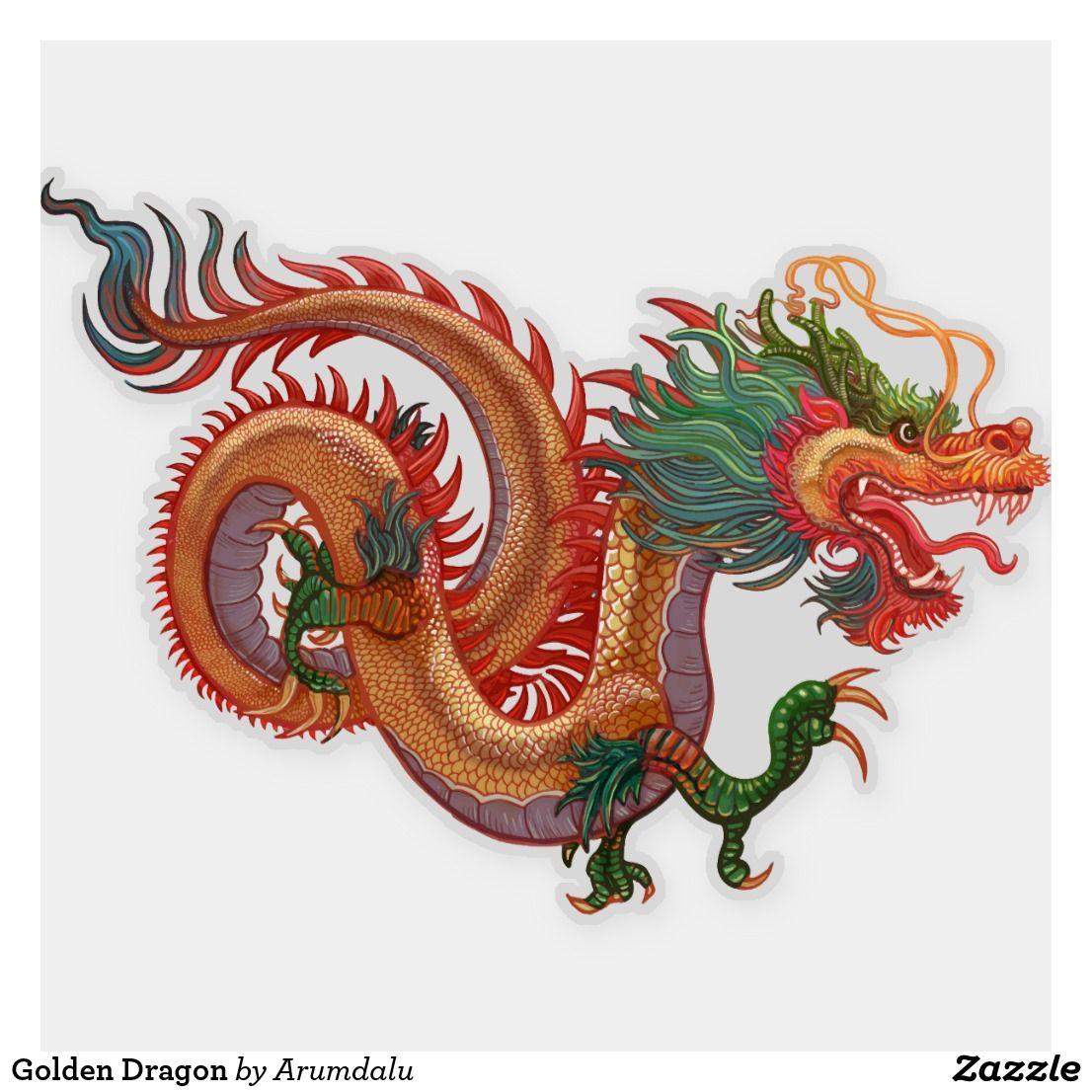 Golden Dragon Sticker New year illustration