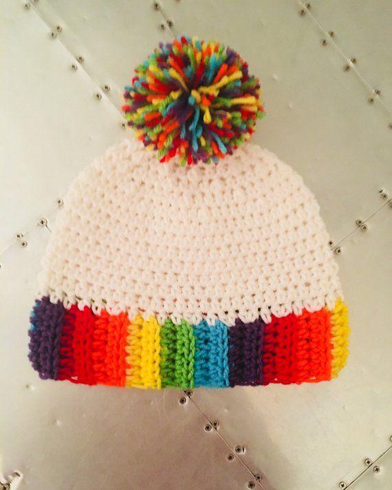9c8373b01 Crochet Hat with Rainbow Brim and Rainbow Pom Pom   Products ...