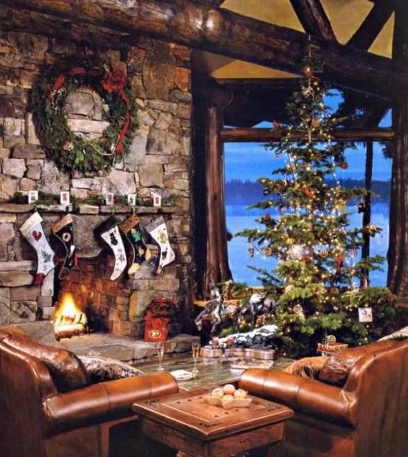 Awesome Classic Great Impressive Christmas Livingroom in a Cabin
