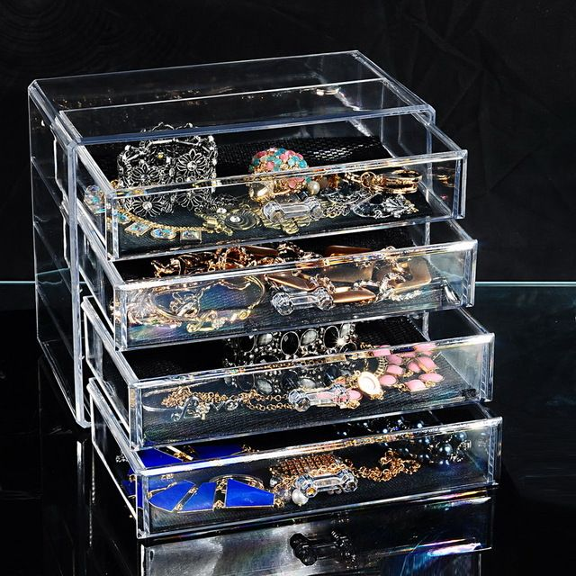 FUNIQUE 4Layers Transparent Acrylic Storage Drawer Makeup Organizer