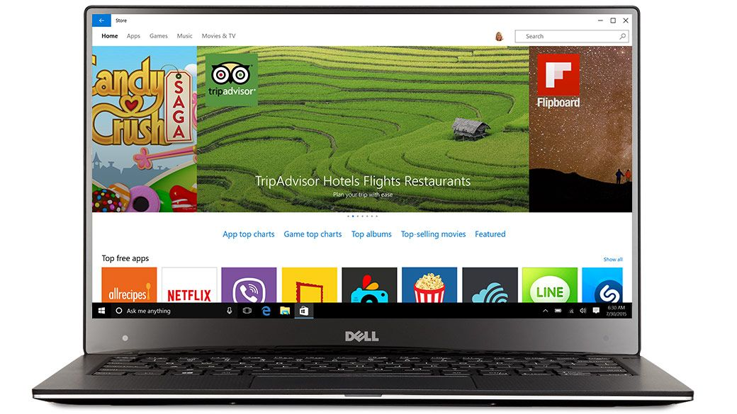 Dell laptop facing front with the Windows app Store on