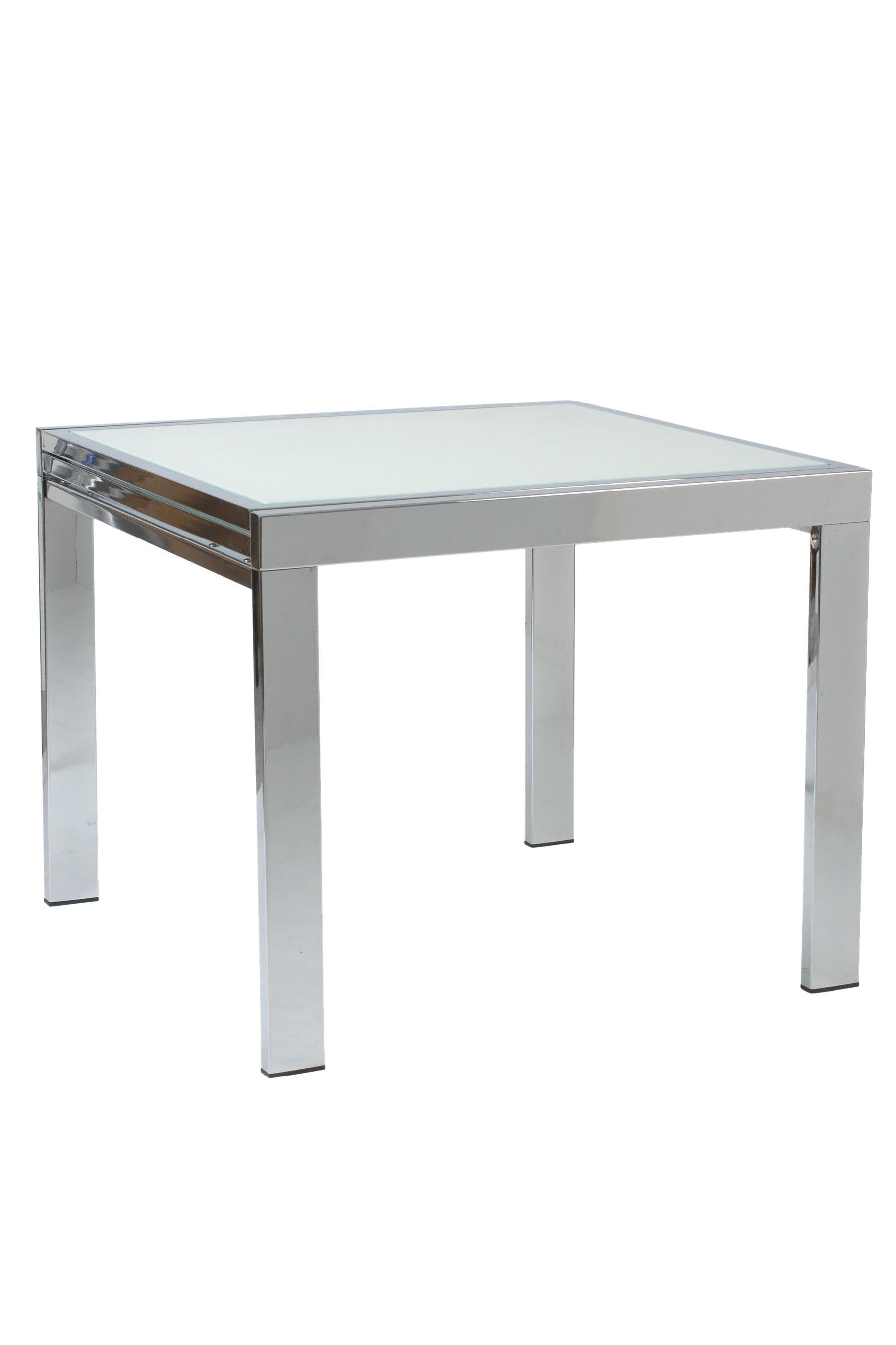 Duo Square Extension Dining Table With Frosted Glass Top And Chrome Base