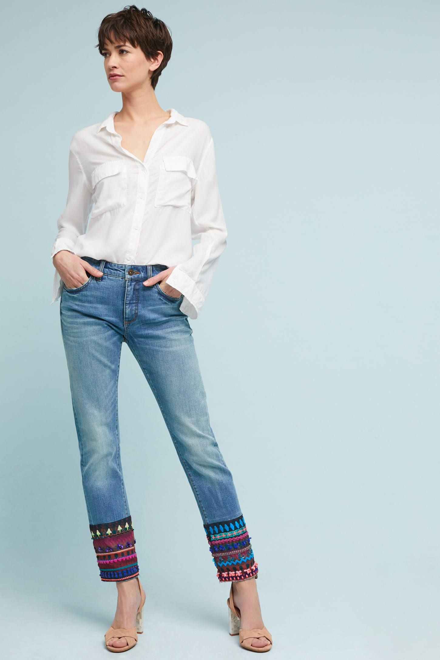 8af4ad0aead6 Pilcro Mid-Rise Straight Cropped Jeans in 2018