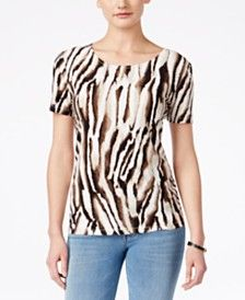 JM Collection Animal-Print Short-Sleeve Top, Only at Macy's