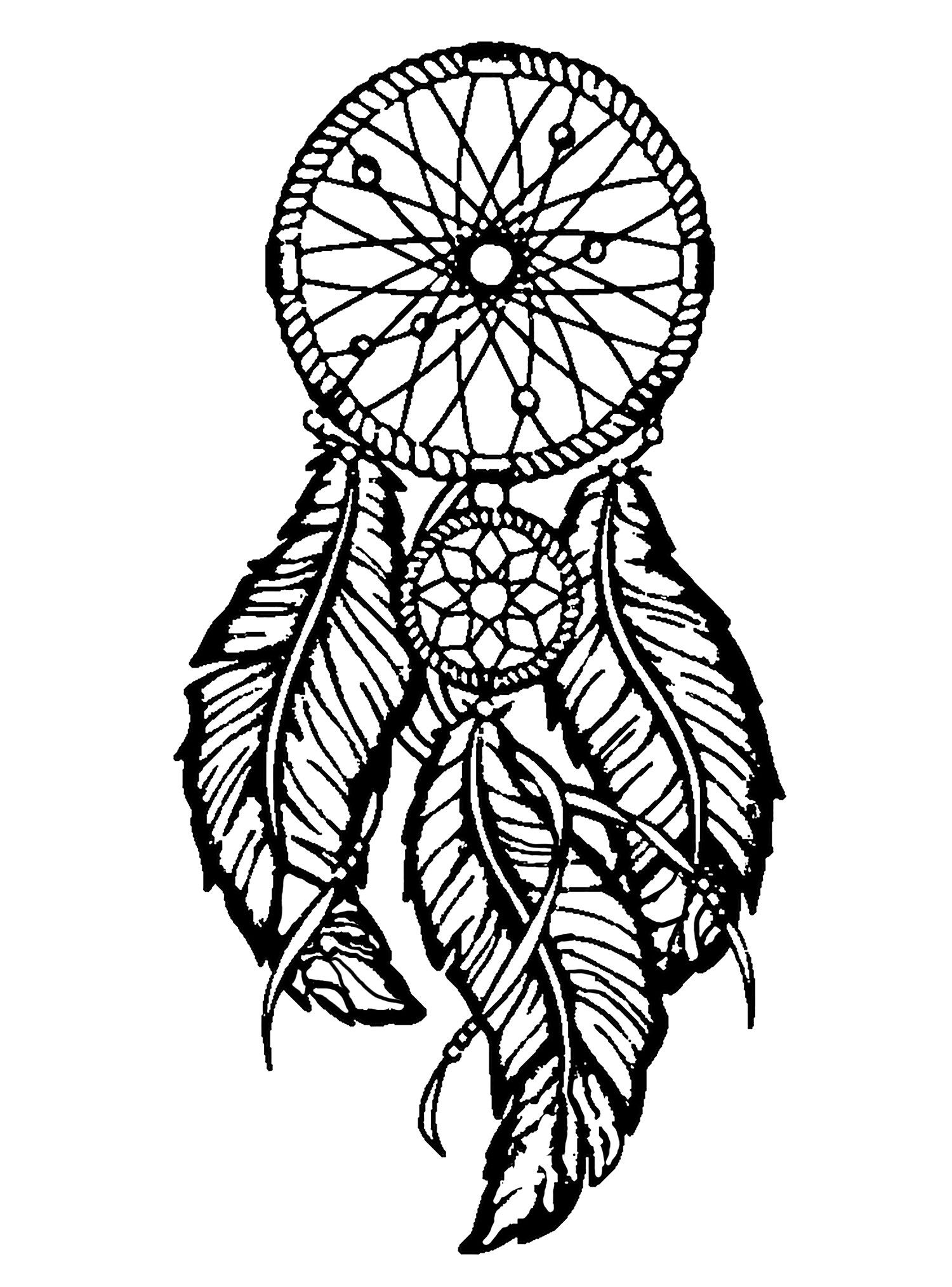 Dreamcatcher to print and color : big feathersFrom the