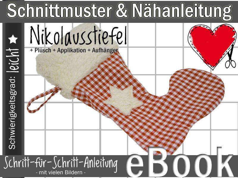 E-BOOK Nikolaus Stiefel Weihnachten nähen Schnitt von Nähoase.de auf ...