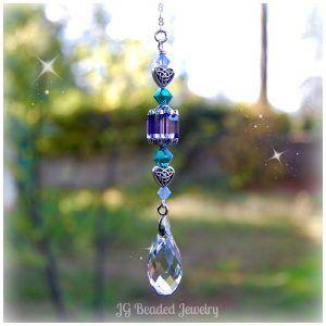 fdf701d43e3376 Swarovski Crystal Teardrop Suncatcher by JGBeads.com #Hanging #Crystals  #Prism #Suncatchers