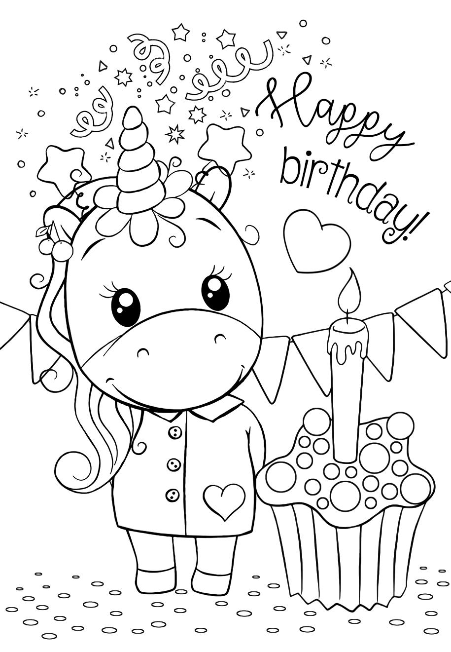 Классные раскраски «Единорог С днем рождения», которые вы ...