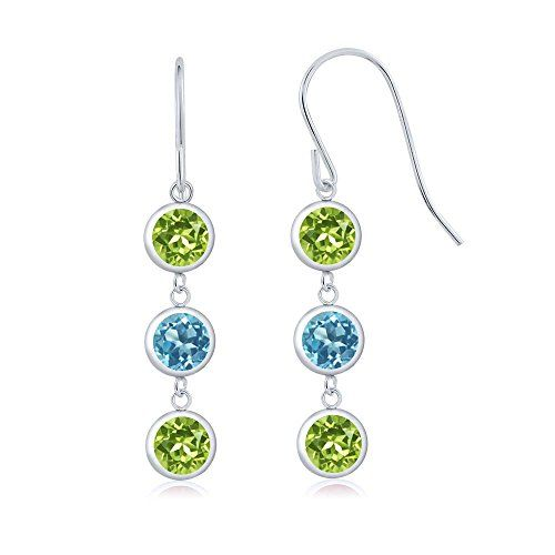 578c6f7ef Promise Rings Simple | 300 Ct Round Green Peridot Swiss Blue Topaz 925 Sterling  Silver Three Stone Dangle Earrings *** Want additional info?