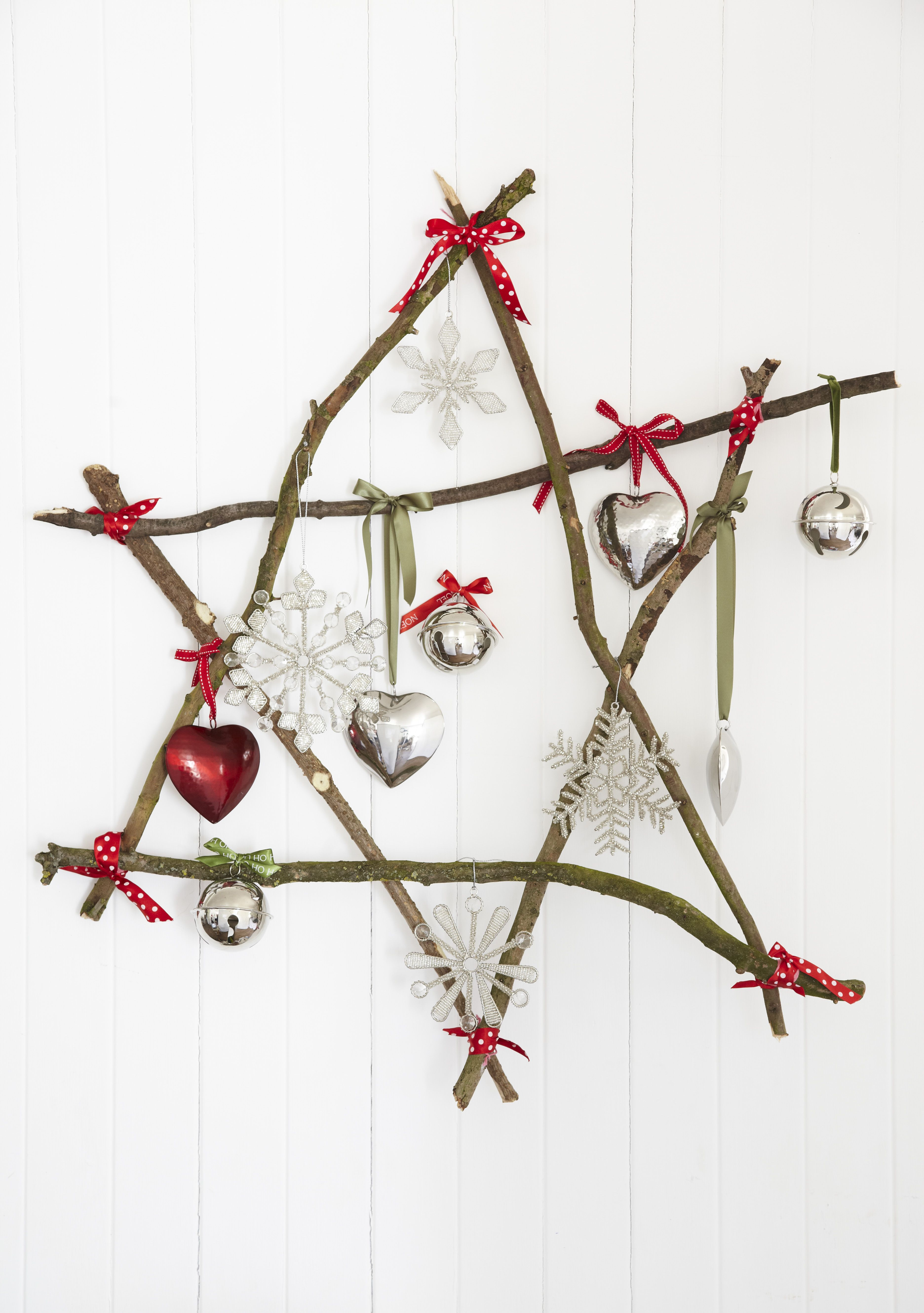 Nickel Christmas decorations on our home made twig star natural