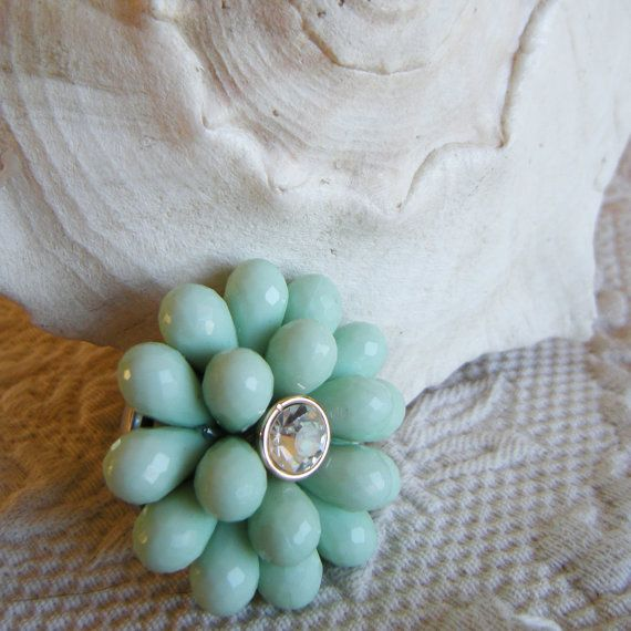 ANEMONE Jeweled Drawer Pull in Seafoam Color | Drawer pulls ...