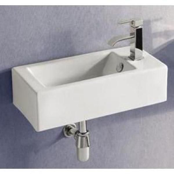Elanti WallMounted LeftFacing Rectangle Bathroom Sink in White