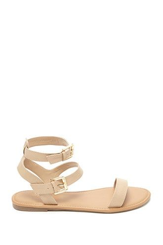 bfa9870b5 Faux Leather Ankle Sandals