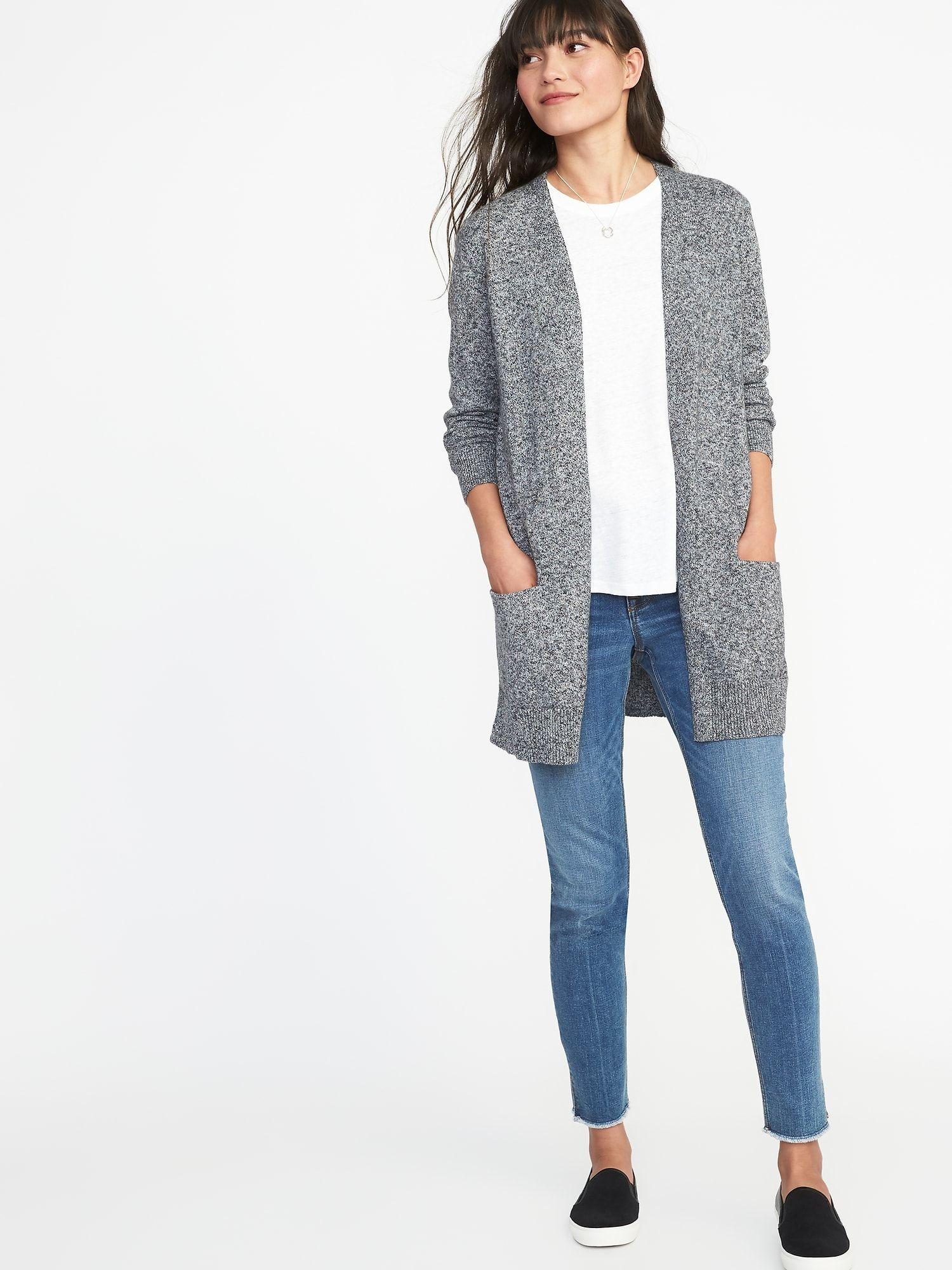 9c613934b13c6b Long-Line Open-Front Sweater for Women
