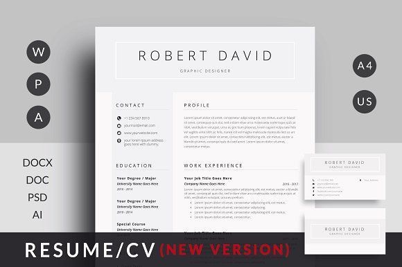 ResumeCv By MrTemplate On Creativemarket Professional Printable