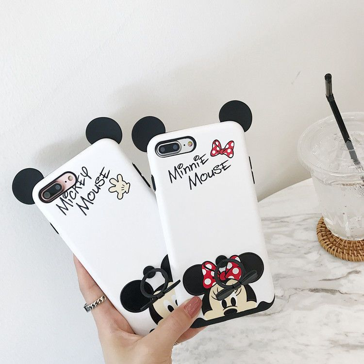 competitive price addad 5477e Holder Case For Iphone 8 Mickey Mouse Cartoon Kawaii Soft Case ...
