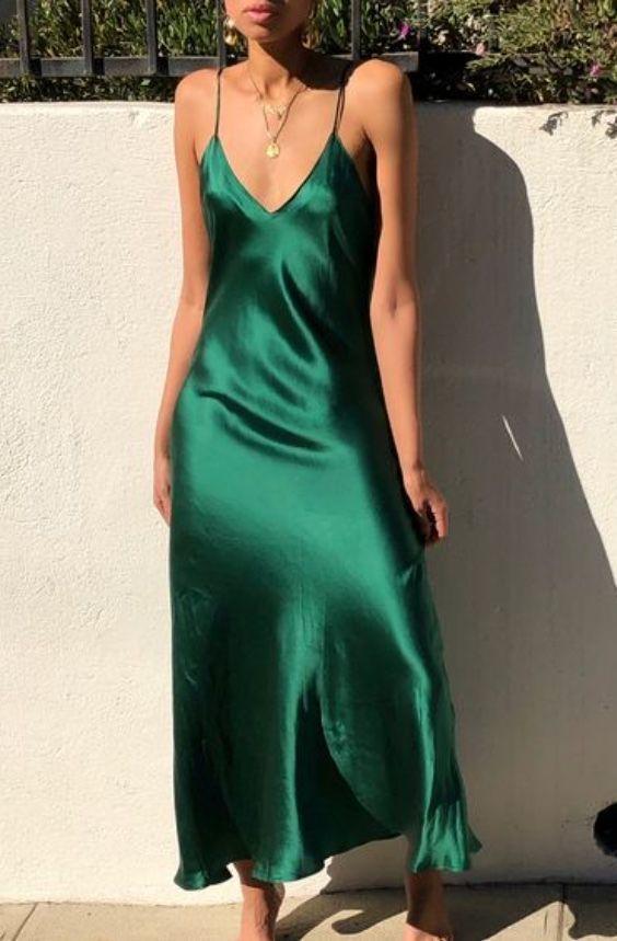 Green Long Prom Dress , V Neck Prom Dress,BP0442