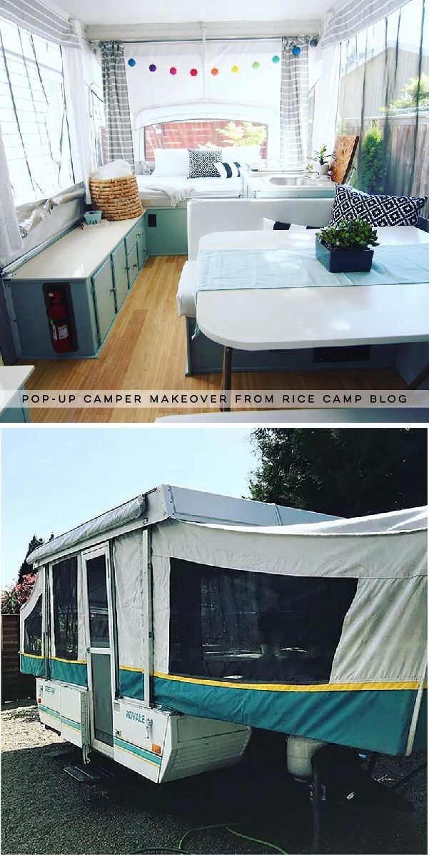 This pop-up camper makeover cost less than $200 and is bright, airy, and ready for summer!