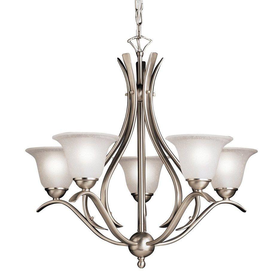 Kichler 2020ni 60 watt dover chandelier in brushed nickel finish 5 kichler lighting 2020ni dover 5 light brushed nickel chandelier arubaitofo Images