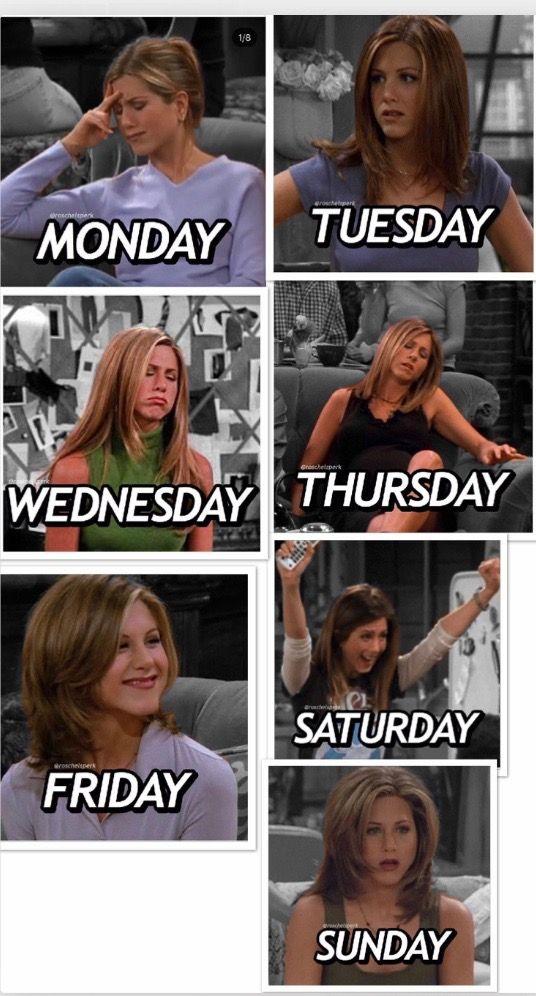 Relatable Week By Rachel Green Elenco De Friends Memes Maraton De Peliculas