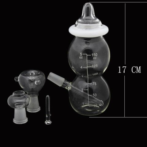 Glass Water Pipes Mini Baby Bottle Glass Bongs Joint 14 5mm