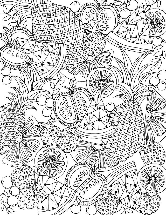 Free Coloring Page For You Alisaburke Summer Coloring Pages Fruit Coloring Pages Detailed Coloring Pages