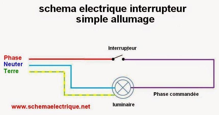 schéma électrique interrupteur simple allumage branchement et