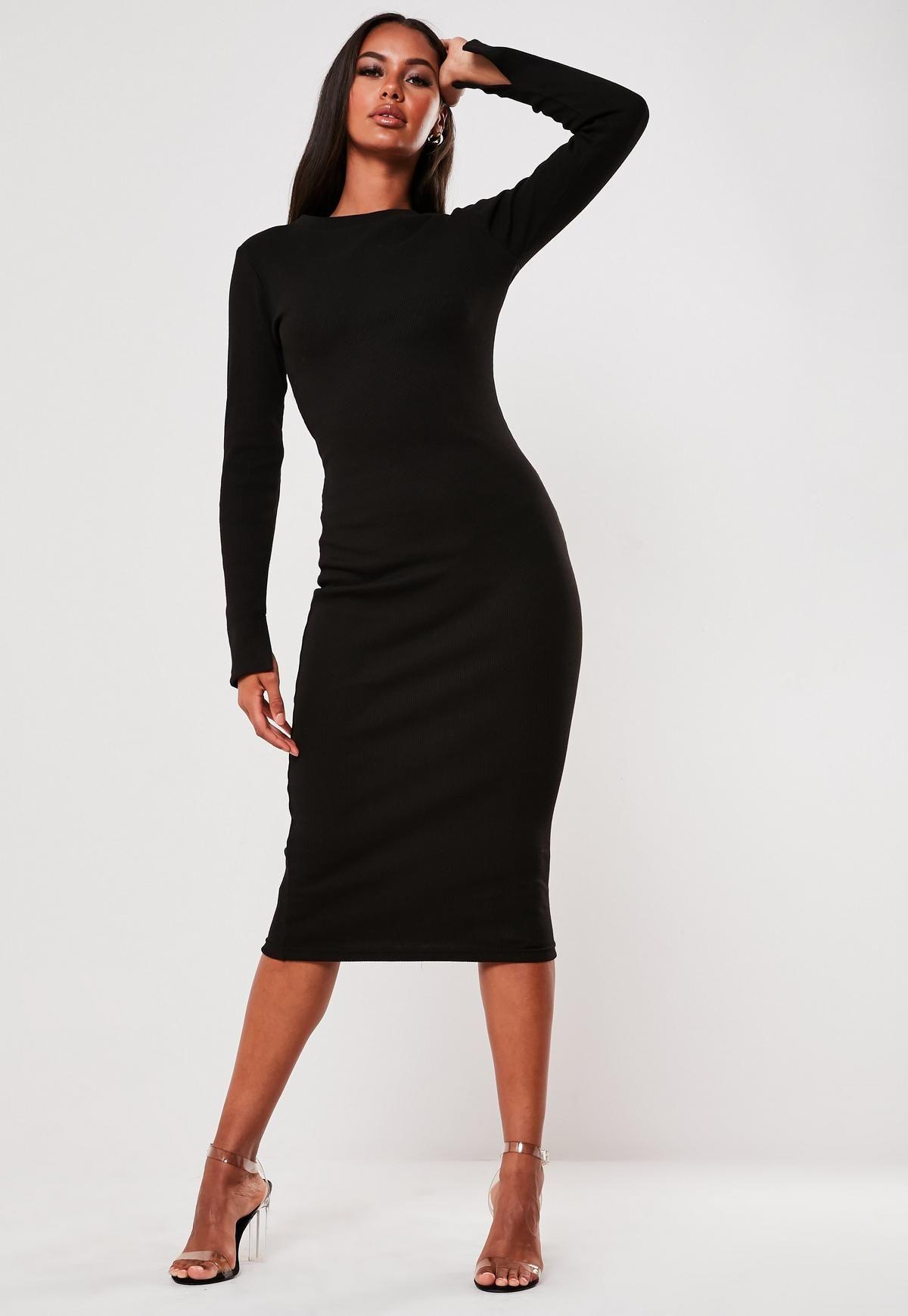 Black Heavy Rib Long Sleeve Midi Dress Missguided Long Sleeve Midi Dress Midi Dress Bodycon Midi Dress With Sleeves [ 1739 x 1200 Pixel ]