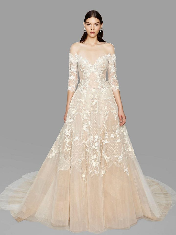 Off-the-shoulder illusion neckline champagne wedding dress from Marchesa bridal fall 2017 | fabmood.com #bridal #engaged #weddings #weddingdresses #wedding #weddingdress #bridalgown #weddinggown
