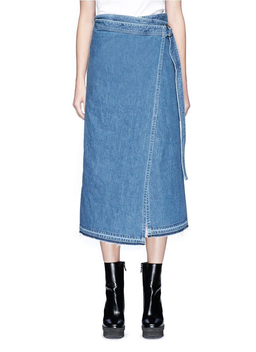 3477c99e62 Denim Wrap Skirt Midi