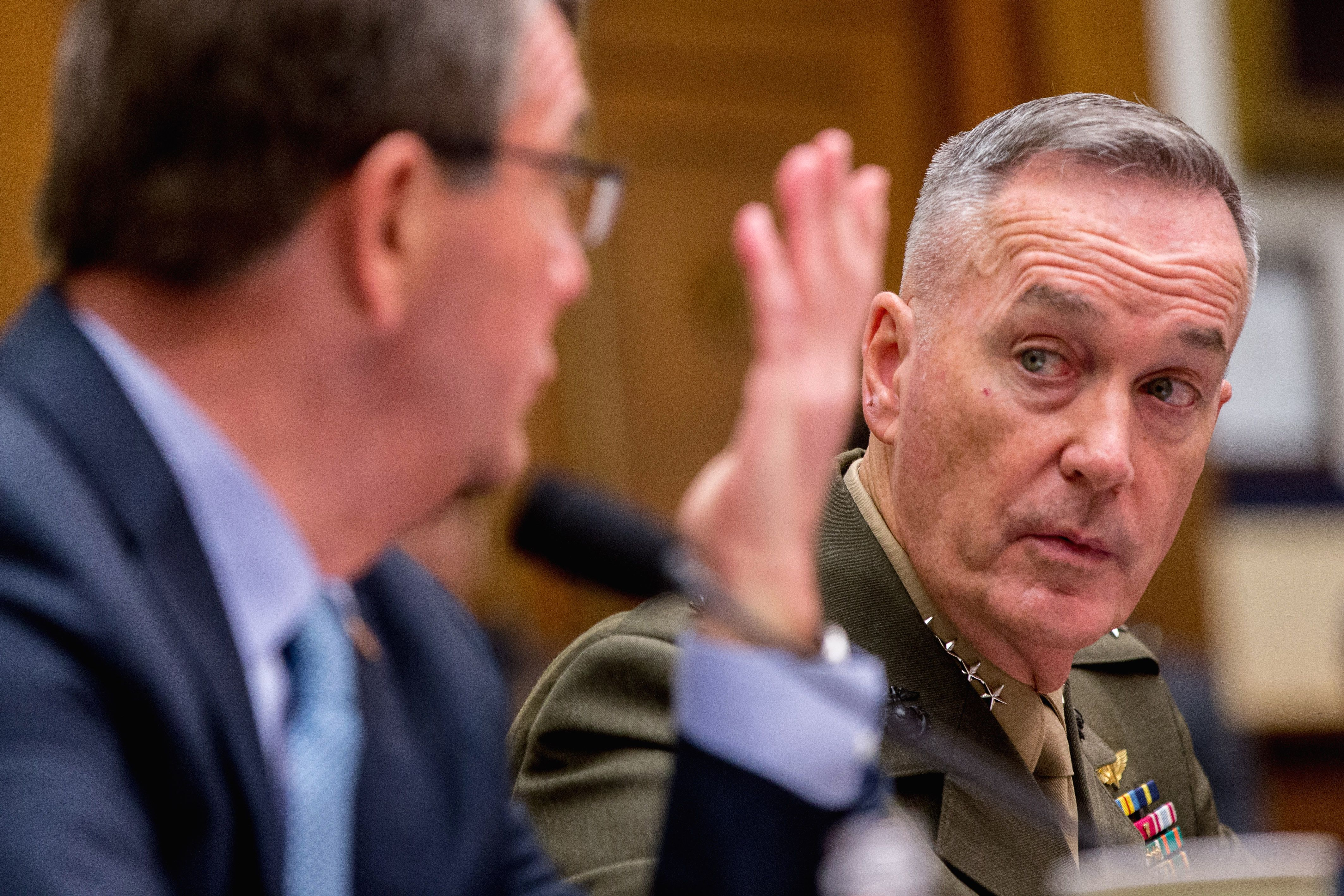 """The nation's top military officer on Tuesday said the U.S. has """"not contained"""" the Islamic State, contradicting President Obama's reassuring remarks last month just before the terrorist attacks in Paris."""