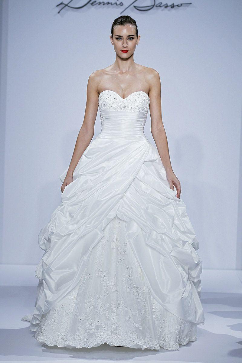 Dennis basso runway show fall sweetheart neckline wedding