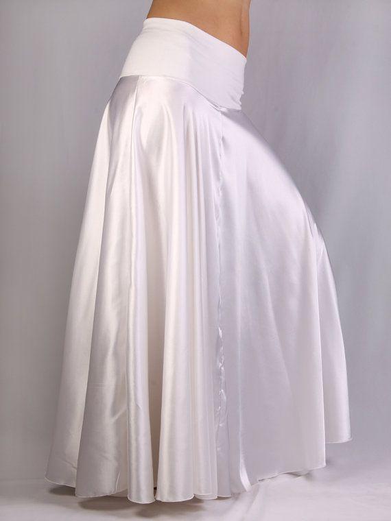 079c7cdaa0 Claire falda larga de raso blanco y lycra blanco Ropa Blanca