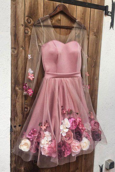 Langarm rosa Tüll 3D Blume eine Linie Abendkleid, rosa ...