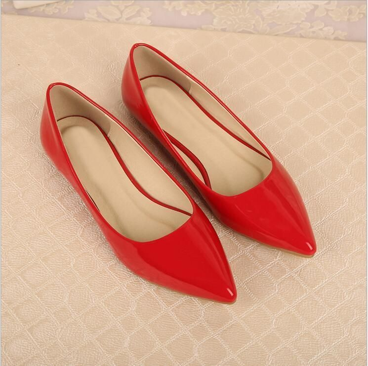 New Fashion Womens Patent Leather Flat Heels Pointy Toe Shoes Slip On Loafers SZ