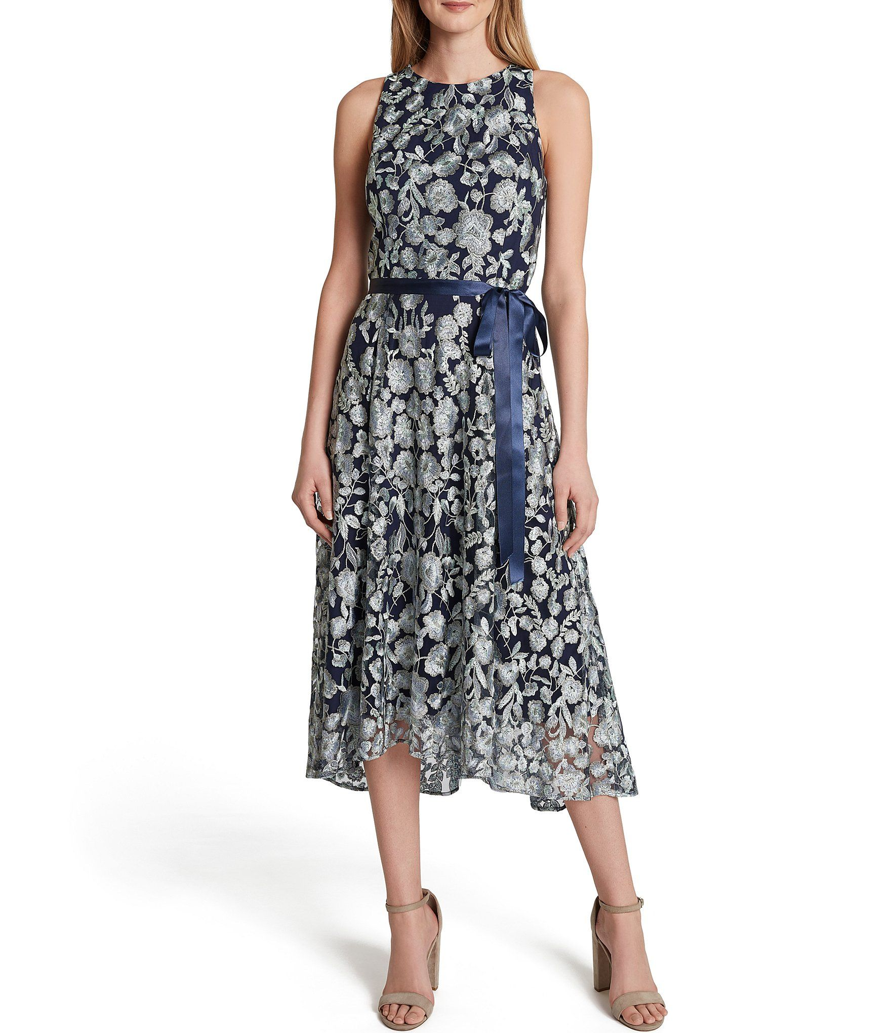 Tahari Asl Petite Size Sleeveless Floral Embroidered Mesh Satin Ribbon Tie Waist A Line Midi Dress Dillard S Flared Skirt Dress Embroidered Midi Dress Floral Shirt Dress [ 2040 x 1760 Pixel ]