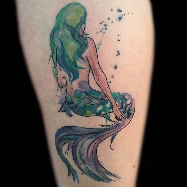 Austin Watercolor Tattoo: Done By Austin. #divinitytattoo #tattoo #mermaid