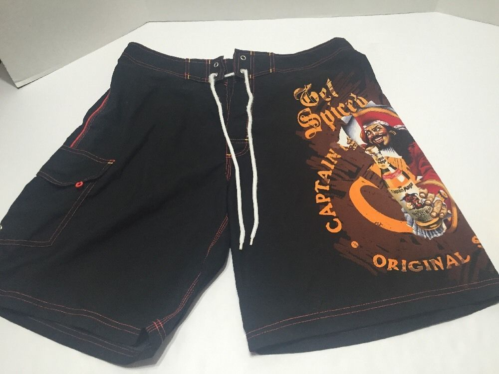 182d51da2b Captain Morgan Get Spiced Sz 36 Swim Trunks Board Shorts 100% Polyester  Black #CaptainMorgan #BoardShorts