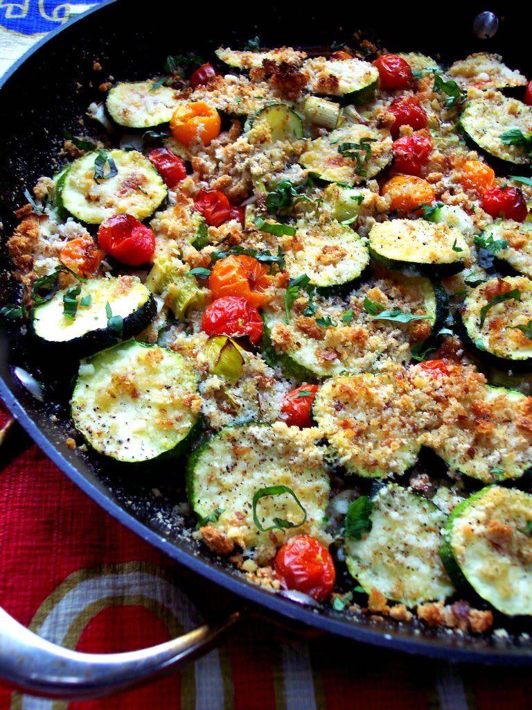 calabacin y tomates gratinados